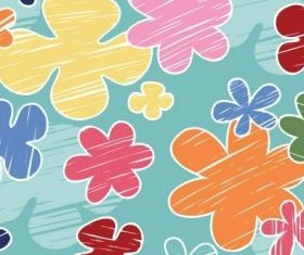 crayon flower pattern vector