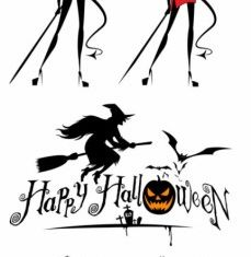 halloween witch and graphics vectors material
