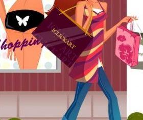 fashion women shopping 12 vectors