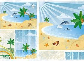 Seascape coconut tree Porpoise design vectors