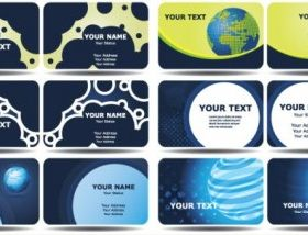 blue card templates technology 02 vector