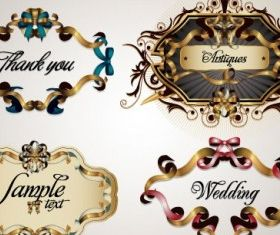 ribbon theme label 3 vector graphics