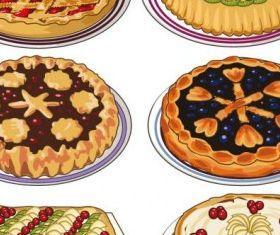 cartoon pastries 05 vector set