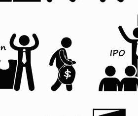 Black Business People Icons vector
