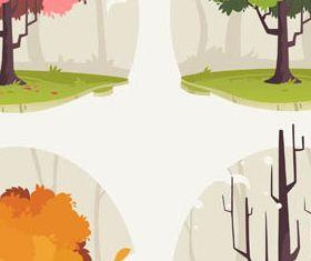 Creative Season Trees vector material