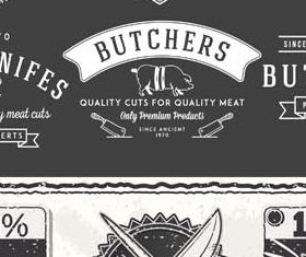 Meat Sale Labels graphic vector