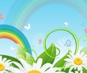 Rainbow and flower landscape vectors