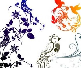 exquisite bird pattern shiny vector