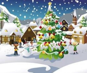 christmas scene illustration 03 design vector