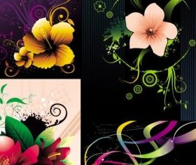 beautiful flowers set vector