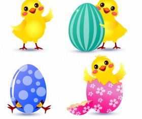 Easter Chick set vector