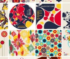 colorful floral elements vector graphic