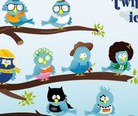 Twitter icon set design vectors
