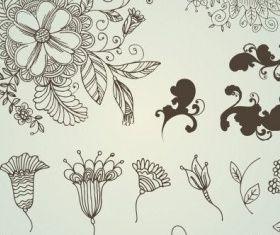 line drawing flower pattern vector design