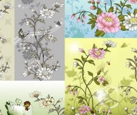 chinese style flower insect vector
