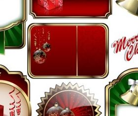 christmas badge shield label vectors