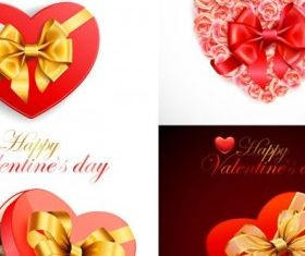 valentine day heartshaped gift box vectors