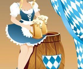 cartoon beer girl 03 set vector