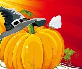 Halloween Pumpkin with Background Vector Illustration