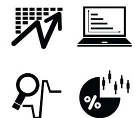 Silhouettes Diagrams Icons 6 vectors