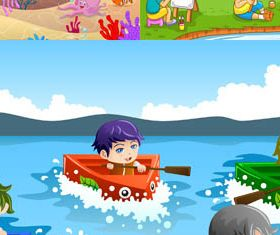 Backgrounds with Children 6 vectors graphics