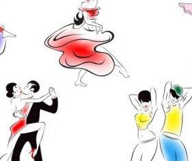 people dancing silhouette 02 set vector