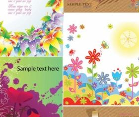 colorful flower card background vectors graphics
