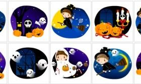 cute halloween scene vector