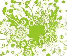 Green Floral Illustration Art vectors