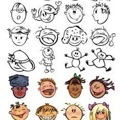 cute cartoon face vectors material