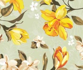 Yellow flowers pattern Art vector graphic