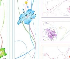 color watercolor style flowers vector design