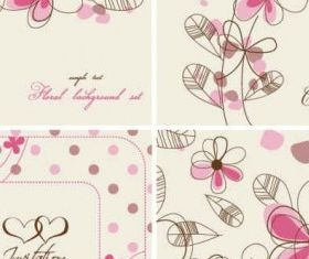 Hand-painted flowers card Background vector