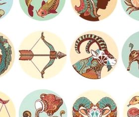 twelve constellations illustrator patterns vector design