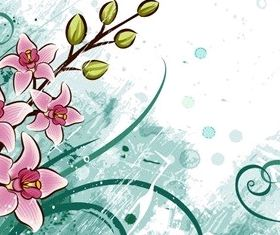 Lily flowers with Grunge Floral Background art vectors graphics