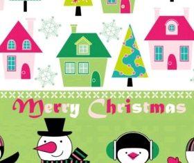 cartoon christmas background 03 vectors graphic