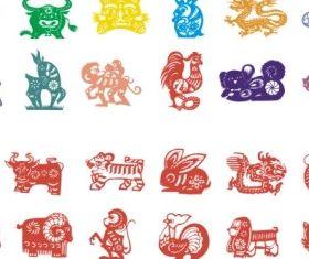 zodiac papercut vector material