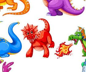 Cartoon Dino Set vectors graphic