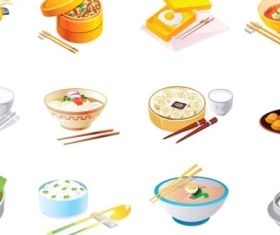 cartoon food icon set vector