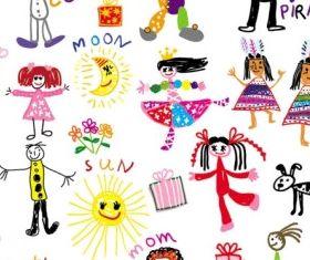 cartoon children illustrator 02 vector