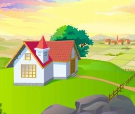 Cartoon Landscapes Background set vector