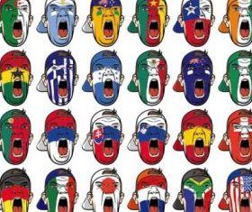 multinational national flag graffiti vector