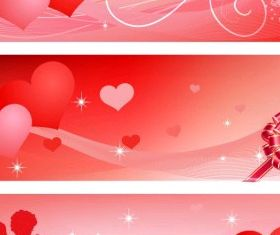 Valentines banners vector set