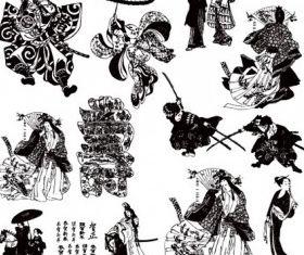 Black Geishand Samurai design vectors