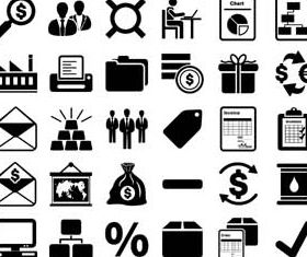 Black Banking Icons vectors material