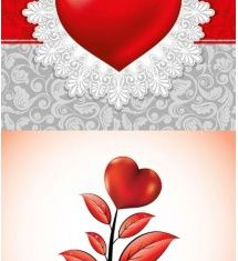 valentine day heartshaped elements shiny vector