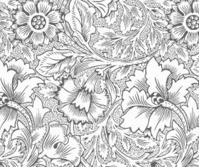 Ornate flower pattern vectors graphic