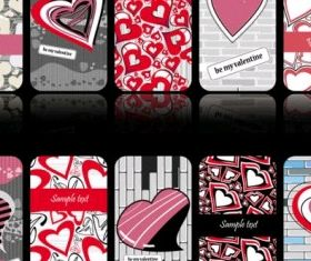 romantic heartshaped pattern cards Illustration vector