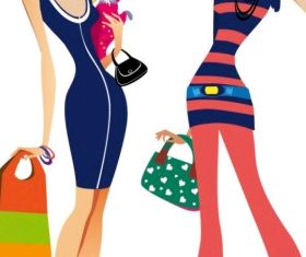 fashion women illustrator 02 set vector