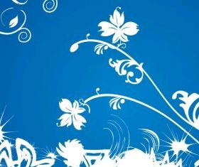 White Floral on Blue Background Graphic design vector